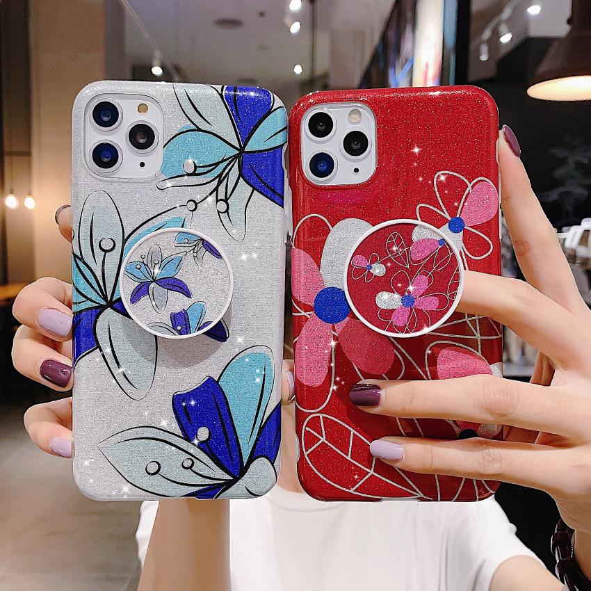 Sparkling Glitter Flower Holder Cover Phone Stand Star Case for iPhone 12 Pro 11 Xs Max Xr X 7 8 Plus SE 2020
