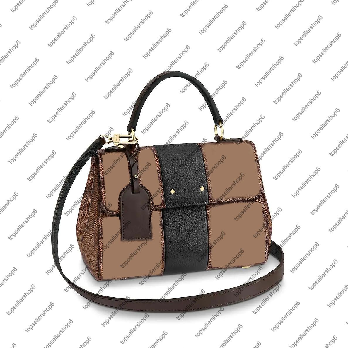 N41073 سندات شارع bb مخلب قماش أعلى مقبض رسول المرأة جلد طبيعي مصمم محفظة حقيبة كتف حقيبة يد