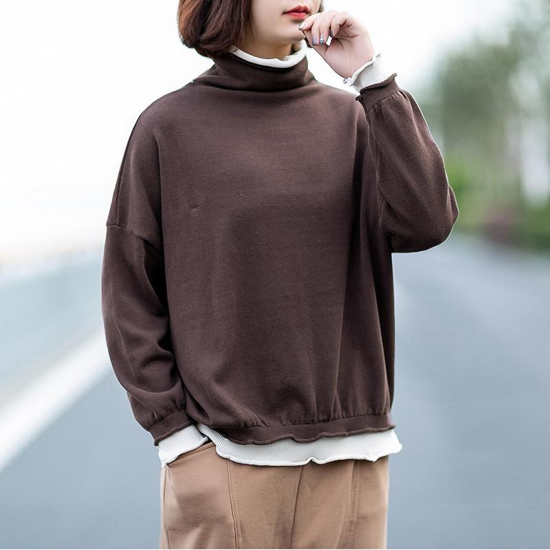 Johnature 2020 Herbst Winter Lässige Fälschung Zwei Teile Rollkragen Strickpullover Frauen Einfache Langarm Frauen Pullover Pullover
