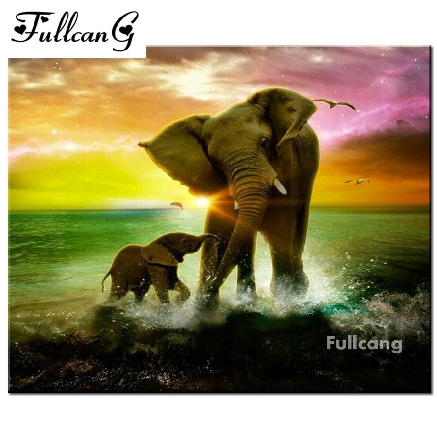 Diamond Painting 5D Full DIY Drill Embroidery Cross Stitch African Elephant Q