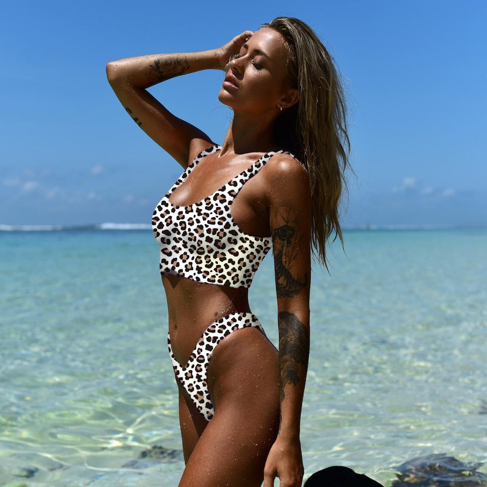 Sexy Leopard Print Bikini 2019 Retro High Cut Solid Black Female Swimsuit Swimwear Women Thong Bikini Set Brazilian Bathing Suit