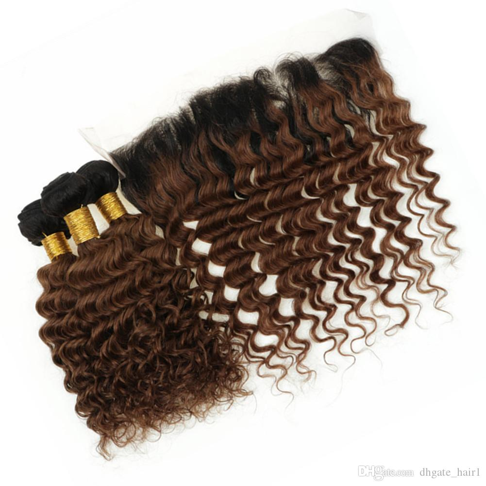 Dark Roots # 1B / 30 Ombre глубокой волна 3Bundles перуанского человеческих волос с Фронтальной Medium Auburn Ombre Weave Связкой с полным шнурком лобной 13x4