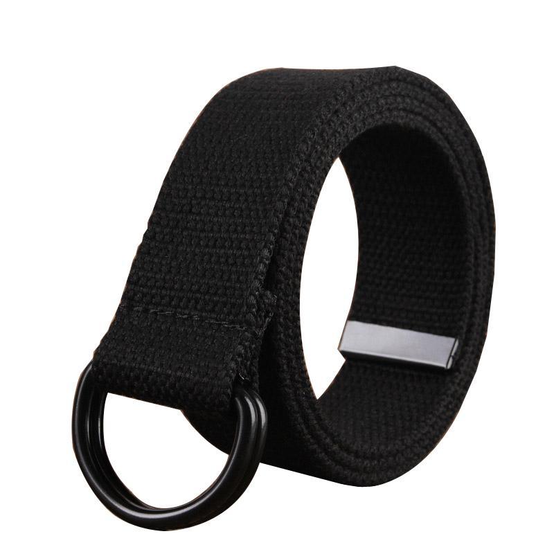 mode ceinture en toile noire boucle double anneau en alliage simple occasionnels ceinture hommes pantalon de cow-boy hommes et les femmes