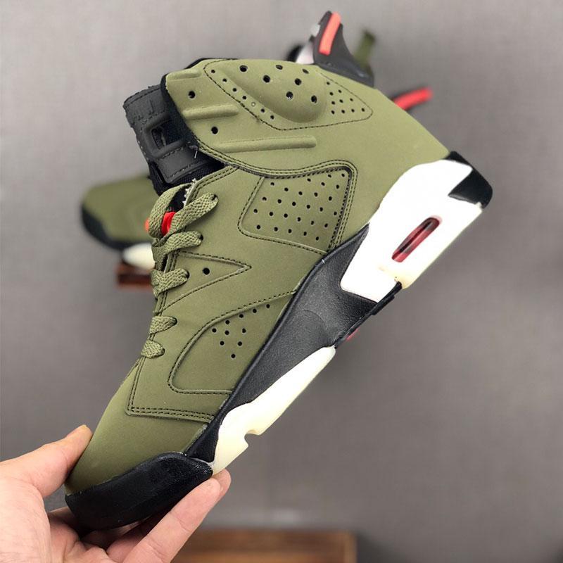 2020 Новые мужские ботинки баскетбола 6S VI Трэвис Скотт X Кармин Черный Инфракрасный разгневанных быков чередовать Hare 6S Sport Sneaker Medium Olive