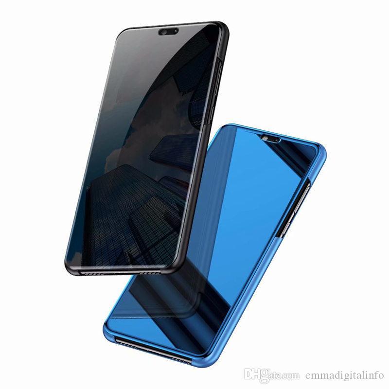 Luxury Mirror Clear View Case per Huawei P8 P9 lite 2017 P9 P10 P20 P30 più lite pro Copertura del telefono Placcatura Base Stand verticale