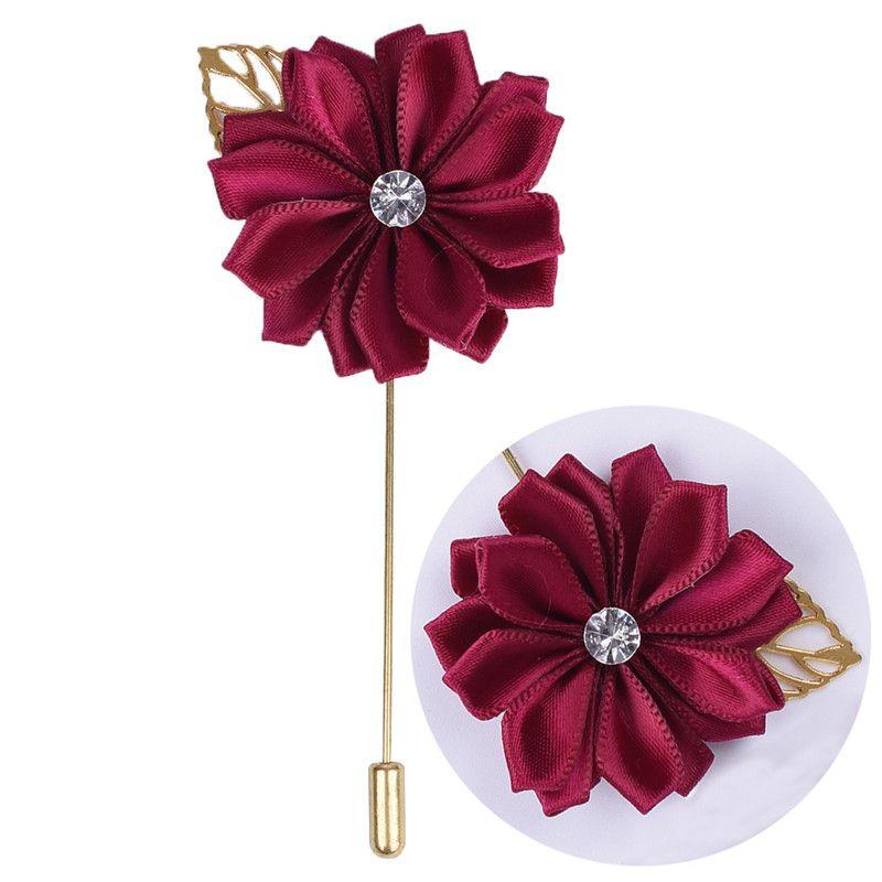 Rosa Fiore metallo Golden Leaf sposo Boutonniere raso di seta Spilla Sposo Uomini Accessori matrimoniali Prom vestito dell'uomo Corpetto Pin XH889Z