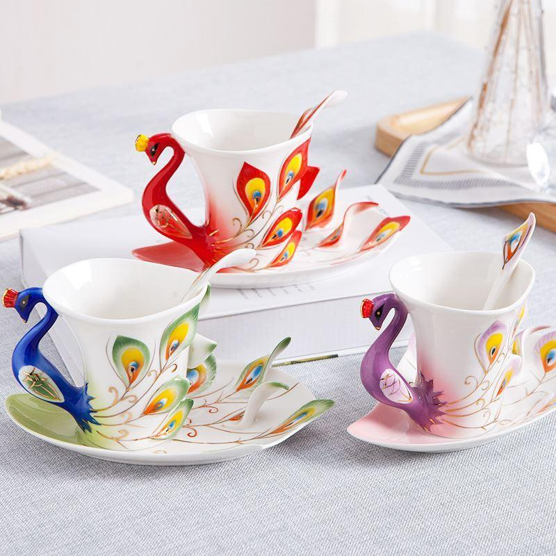 2019 Creative 3D Hand Crafted Porcelain Enamel Peacock Coffee Cup Set with Saucer And Spoon Present Ceramic Tea Water Cup Dish Gift
