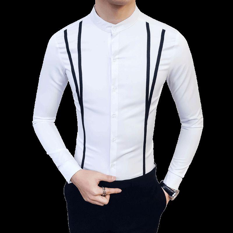 Loldeal MenPlus Tamanho Front Fake Belt Cerimônia Camisas Sociais Camisas de Vestido Slim Fit Preto Branco Camisa Casual de Manga Longa