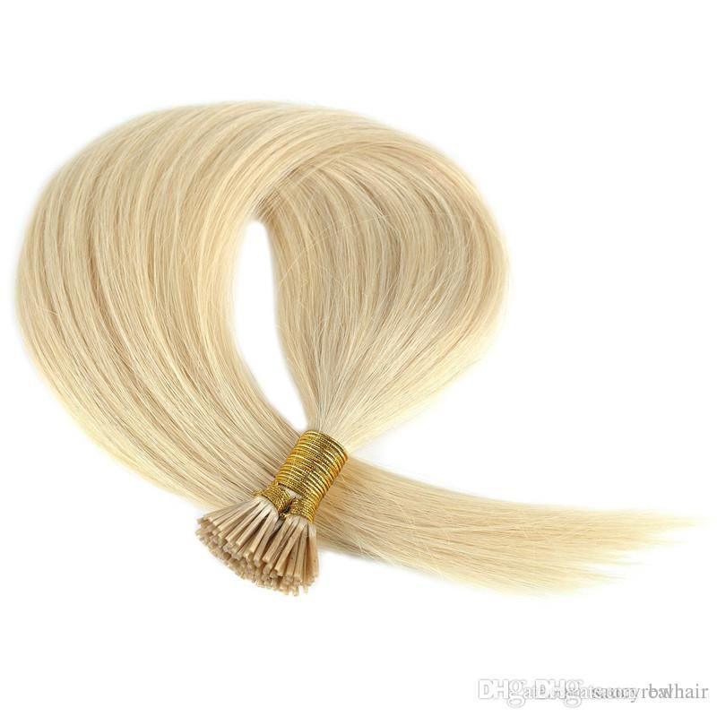 "Prebonde Stock-Haarverlängerungen 16-24"" 200Strands lot Blonde Farbe 613 # Keratin I Tip in Haar Jungfrau-Haar Remy großer Diskont"