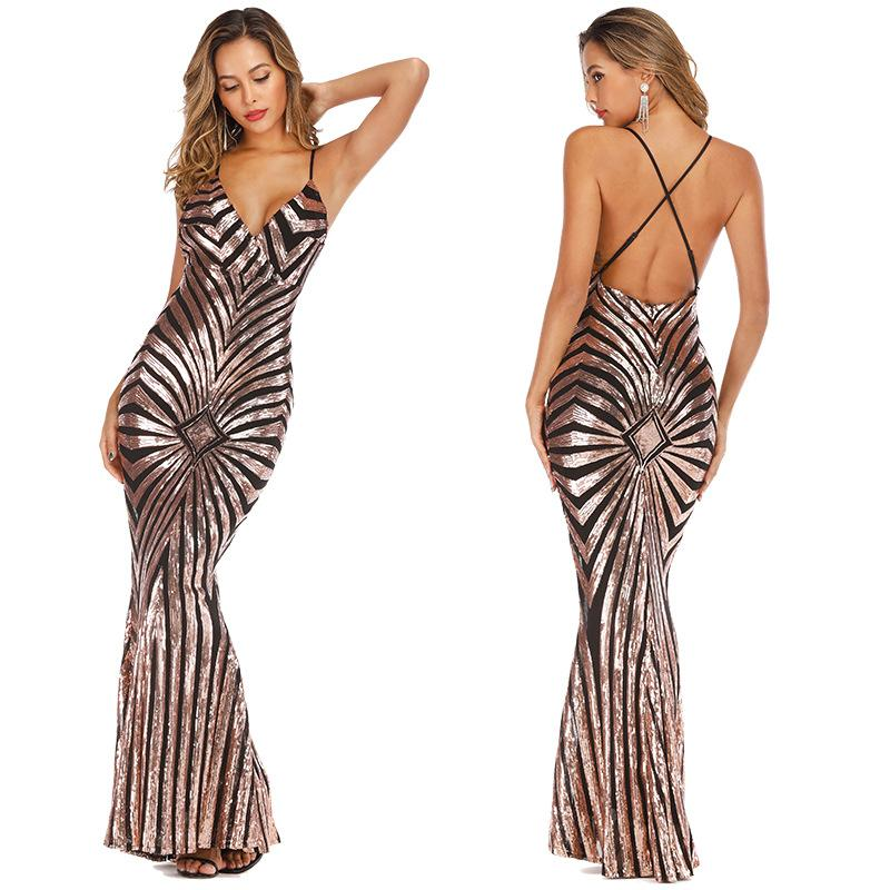 Europe and the United States sexy backless sequin long dress deep V-neck stretch mop dress 5887