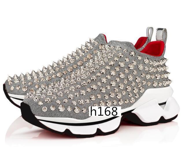 Parte inferior das mulheres dos homens pontos vermelhos Sapatilhas pico Sock Donna Studded Spikes Running Shoes rebite calçados casuais 3