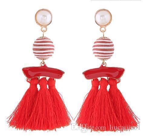 Pendientes de borla bohemios pendientes de bola de bobina simple pendientes de perlas de moda oreja grande joyería