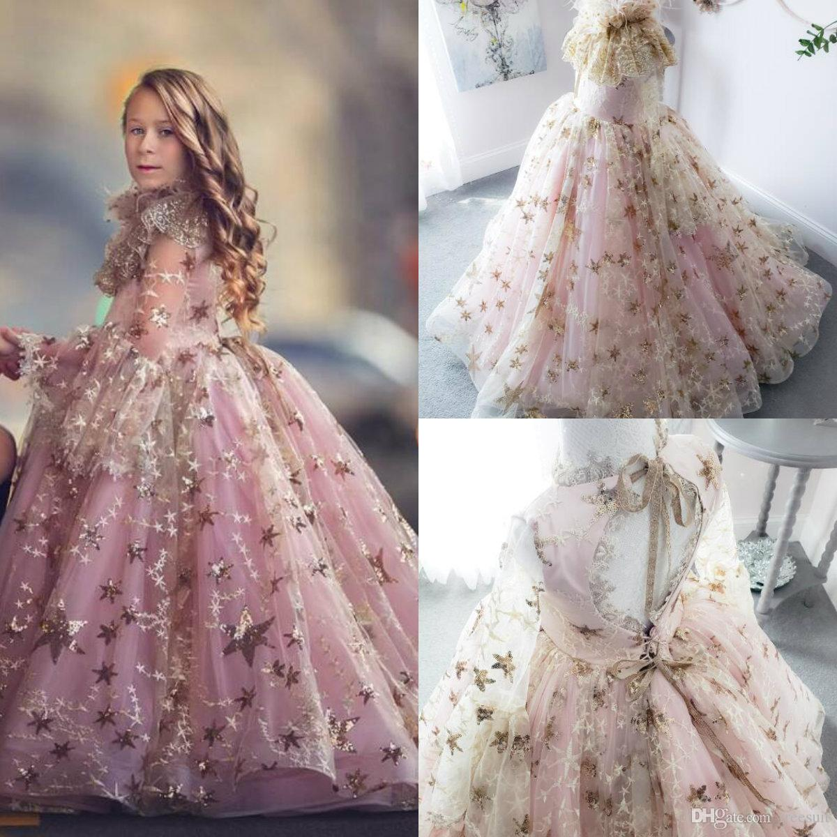 2020 Ball Gown Flower Girl Dresses With Wrap Sequins Appliqued Feather Long Sleeve Lace Girl Pageant Gowns Custom Made First Communion Gown