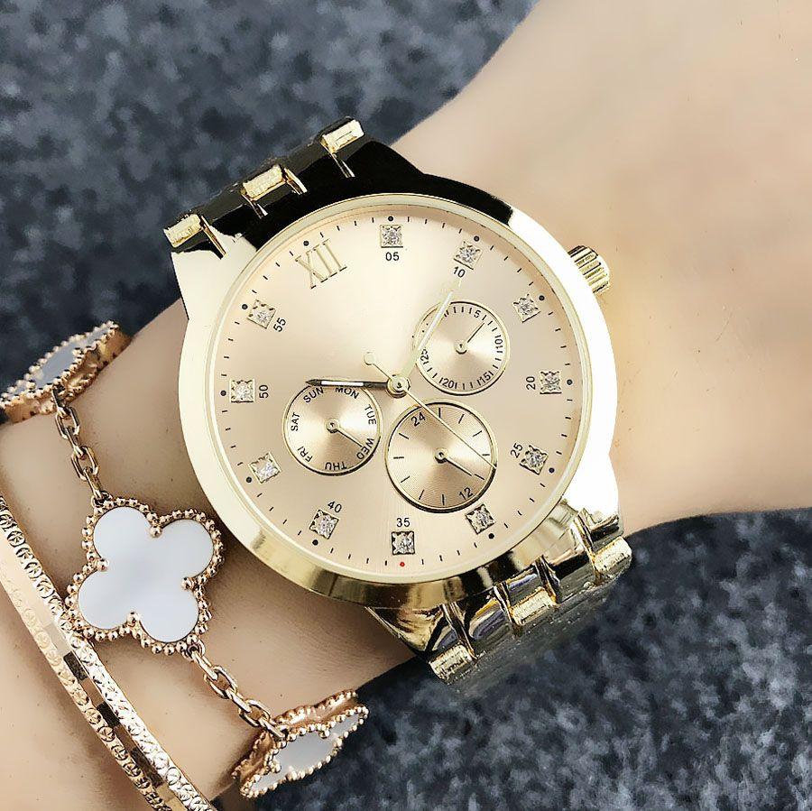 Orologio di modo di marca per la ragazza 3 Dials stile d'acciaio del quarzo della fascia di metallo delle donne orologi TOM6670