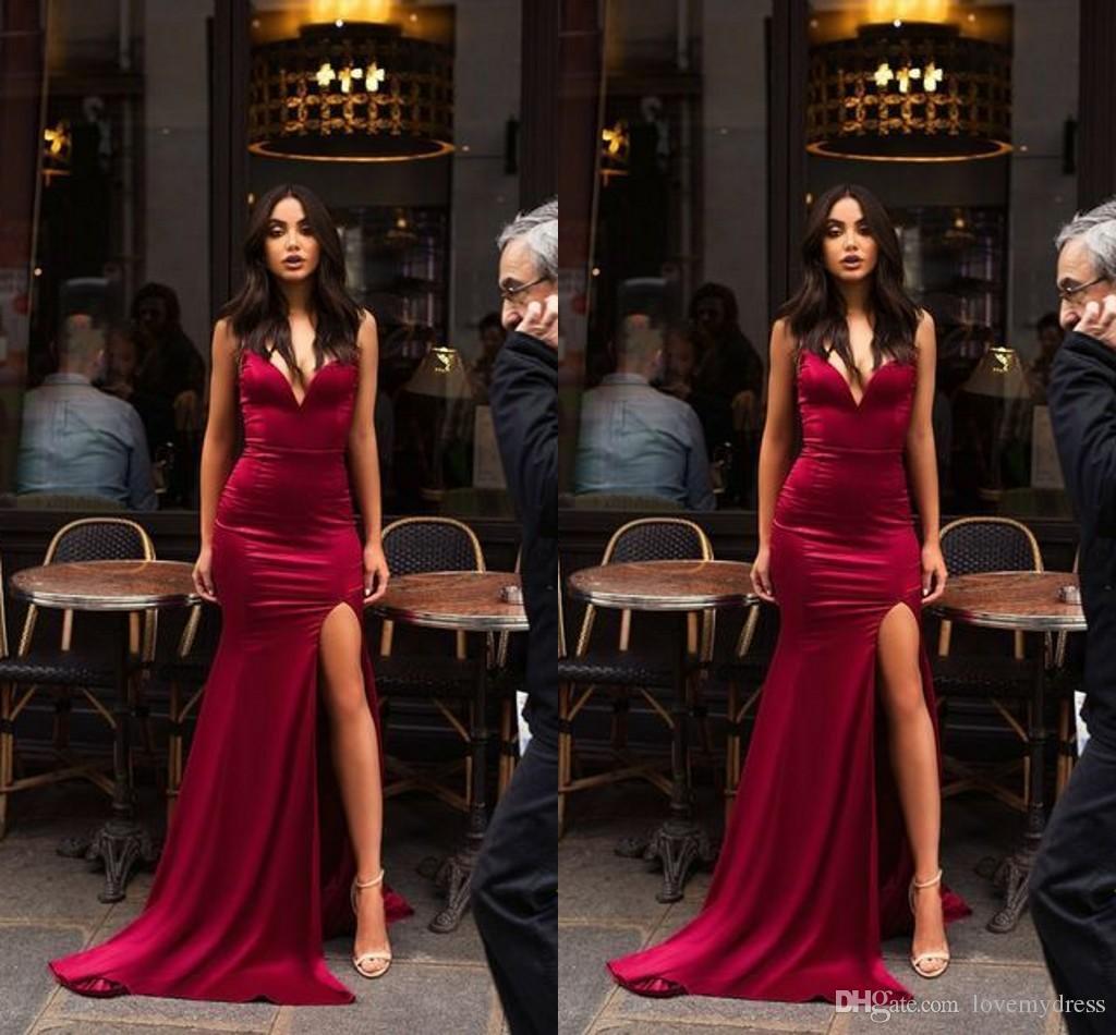 Dark Red Mermaid Dresses Evening Wear 2019 Side Split Deep V-neck Backless SOFT Silk Prom Dress Long Elegant Formal Gowns Homecoming Dress