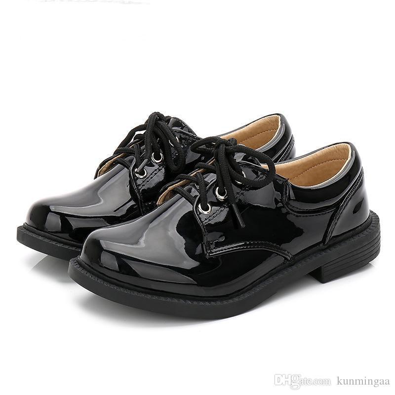 Bambini scarpe basse Etiquette Ragazzi abito da brevetto scarpe di cuoio per l'uniforme Bambini del banco Classic Oxford Scarpe Nero White Wedding