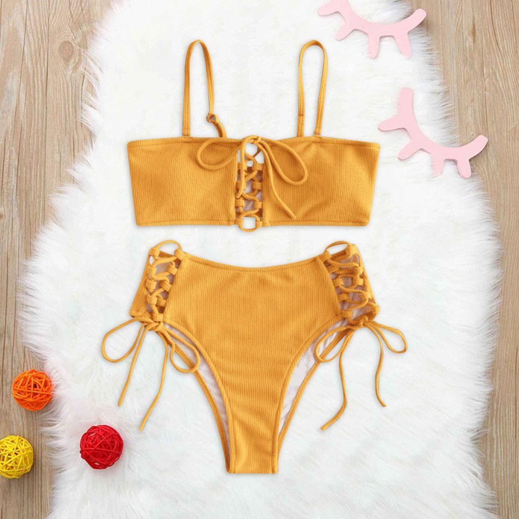 Feminino Printing Bandage Bikini Set Mulher Brasileira Swimwear oco Out Sólidos Mid cintura Lady Beachwear Swimsuit # T2G Y200319