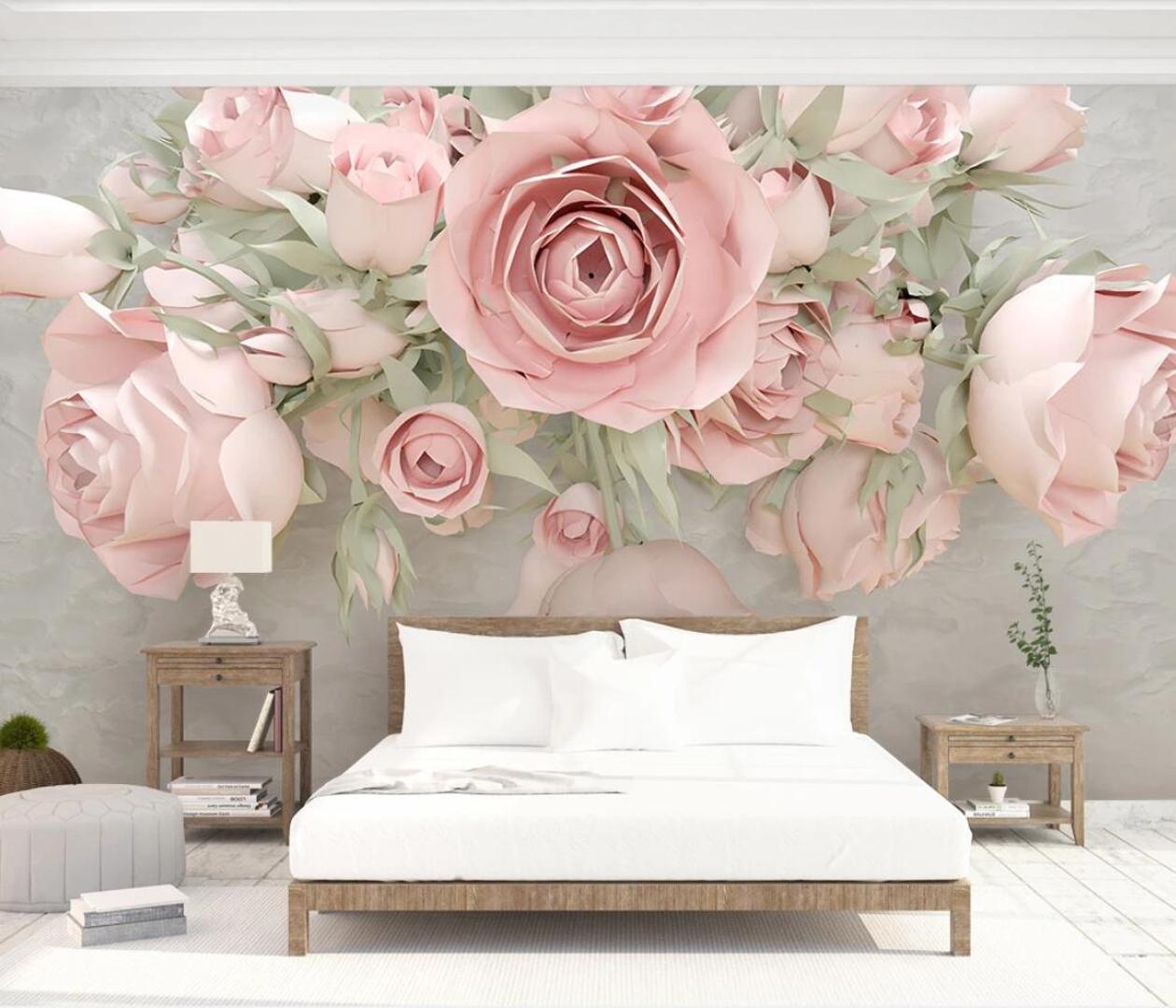 Em relevo Floral Wall Mural papel de parede 3d flores impressão em papel de lona Contato foto papel de parede personalizado papel de parede