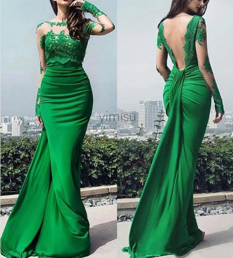 Emerald Green Mermaid Abendkleider Backless lange Hülse Illusion Mieder Appliques drapierte formale Abschlussball-Partei-Kleider vestidos de fiesta
