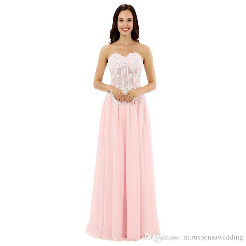 LG0218 Doce Doce Strapless Rosa Dridesmaid Vestidos Lace Applique e Vestidos De Partido De Casamento com Pérola Beading Wedding Wedding Doméstide Vestido de Honra