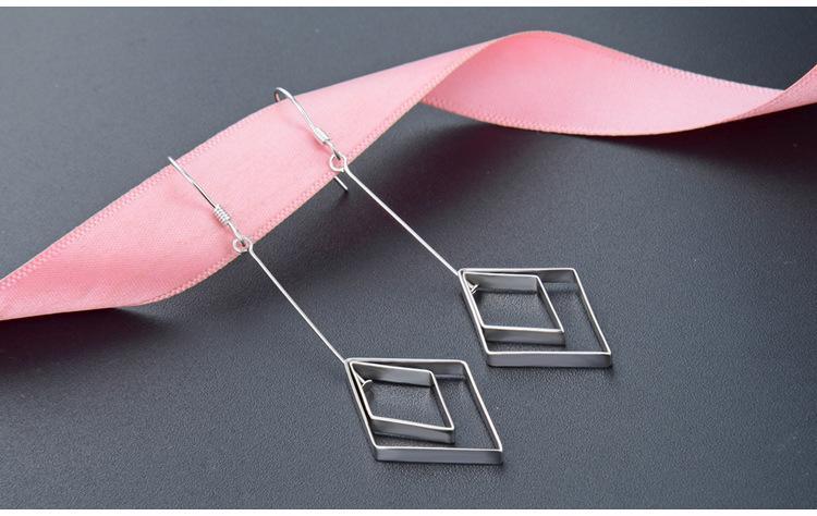 giorno superiore regalo di qualità d'argento S925 orecchini pendenti di San Valentino orecchini pendenti dondola orecchini in argento pianura rombo DDS3343
