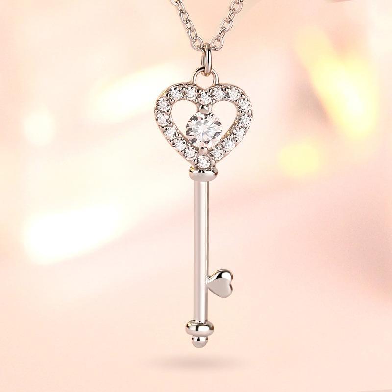 2020 Amor Key Pingente Rose 925 Colar de Prata Esterlina para Mulheres Vintage Collar Costume Jóias