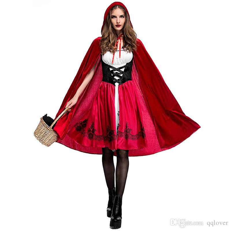 2020 Women Little Red Riding Hooded Costume Halloween Party Robe Lady Embroidery Dress Cloak Cosplay Fantasia Game Uniform From Qqlover 14 07 Dhgate Com