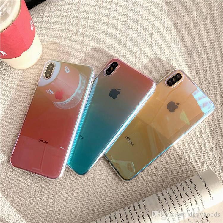 La caja del teléfono brillante gradiente de colores transparente Espejo duro fino para X XS Max XR contraportada de Shell