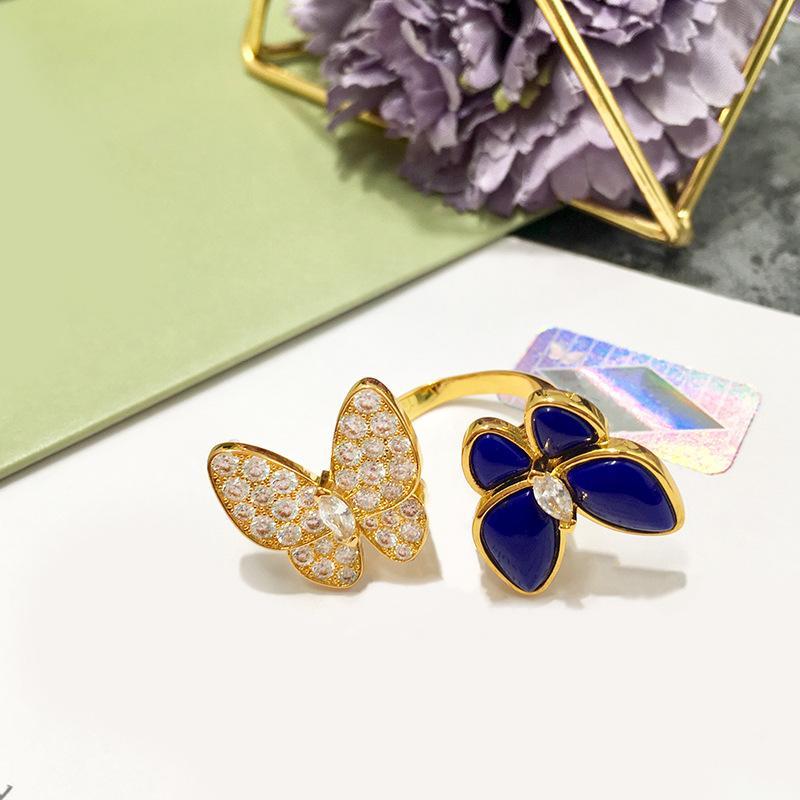 doppia farfalla anello aperto all'ingrosso caldo-vendita di gioielli in oro ramato Trifolium Lapis diamante con scatola regalo