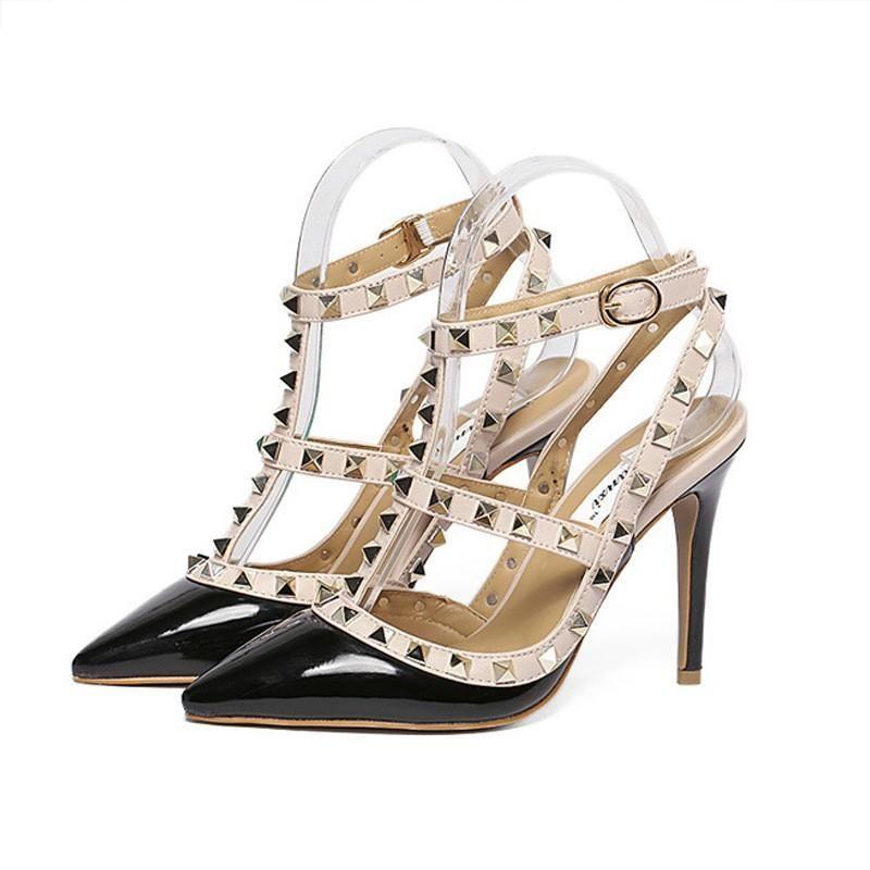 Mode Luxus-Designer-Schuhe der Frauen hohe Absätze gespickt Sandalen sexy Damen 8cm Keil Sandalen untere Spitze Partei Hochzeit Sandales femmes rot