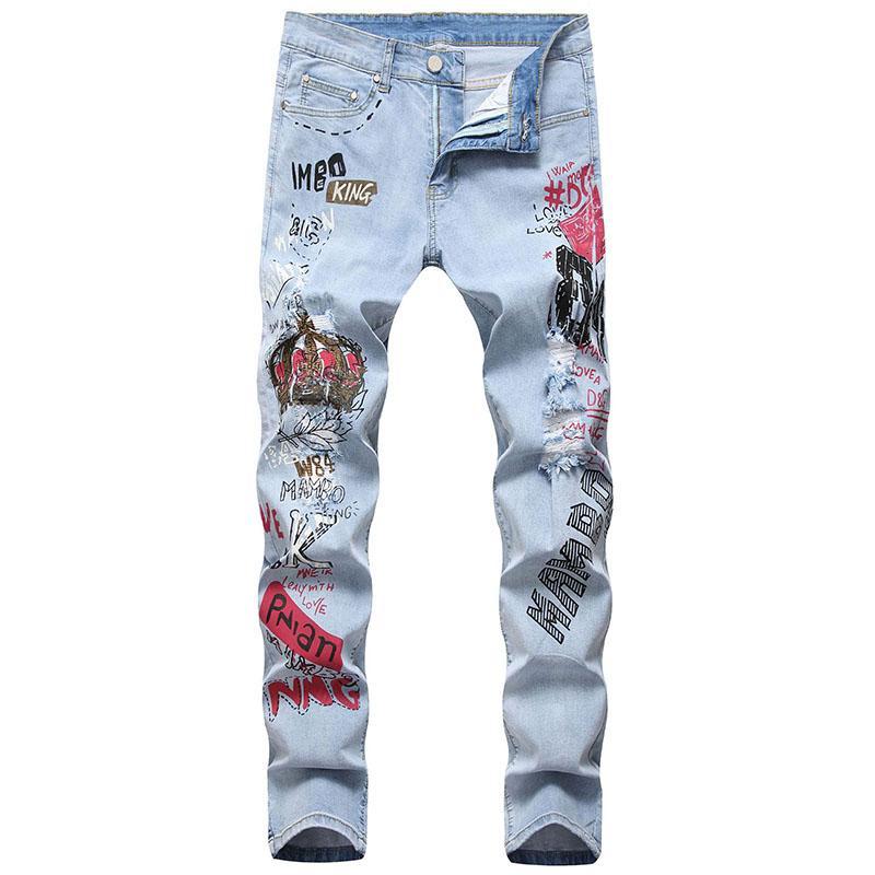 Mcikkny dos homens rasgado hip hop calças de brim moda slim fit estiramento calças jeans para o sexo masculino em linha reta tamanho 29-38