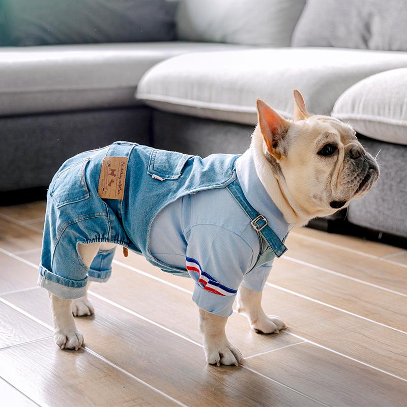 Denim Dog Coat Autumn Winter Pets Dogs Clothing Fat Dog Clothes Fashion Pet Clothes French Bulldog Puppy Costume Pug Dogs Jacket T200101