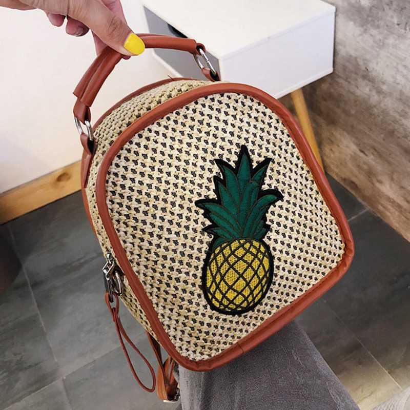 2020 Bagpack Kadınlar Yüksek Kapasiteli Ananas Fermuar Seyahat Sırt çantası Sırt Çantası Fonksiyonlu Yumuşak Sap çantaları Sevimli Straw Sırt Çantası