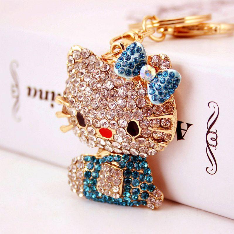 bottes de diamant créatif mignon chaton accessoires sac femmes porte-clés de voiture chaton clé pendentif en métal de la chaîne