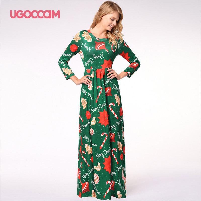UGOCCAM зима Рождество платье Женщины Vintage Robe Качели Pinup Элегантный Casual платье партии длинным рукавом плюс размер печати ретро ВЕСТИ