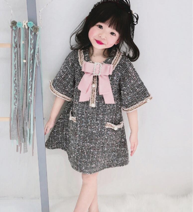 Kız Prenses Elbise 2019 Ekose Bow Çocuk Parti Elbise Moda Yüksek dereceli Kız Noel Elbise Butik Bebek Giyim T200624 Güz