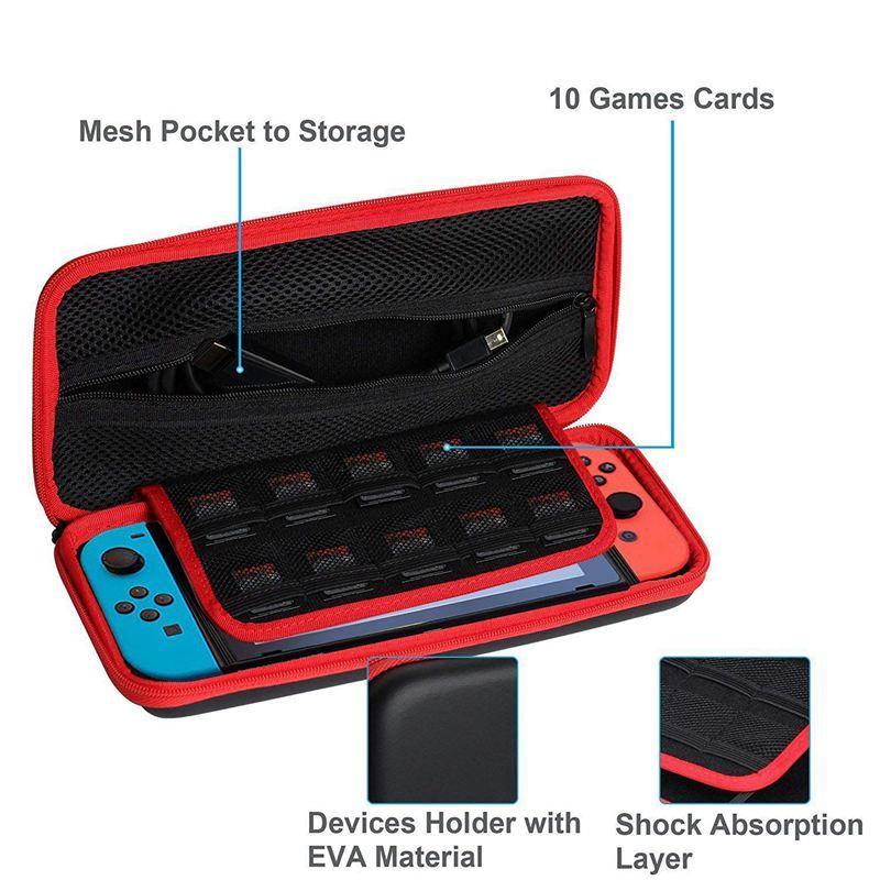 Tragetasche für Nintendo Switch - Tragbare Schutz Reise Hard Shell Anti Shock Speicher-Beutel mit 10 Spiel-Karten-Slots und Inn