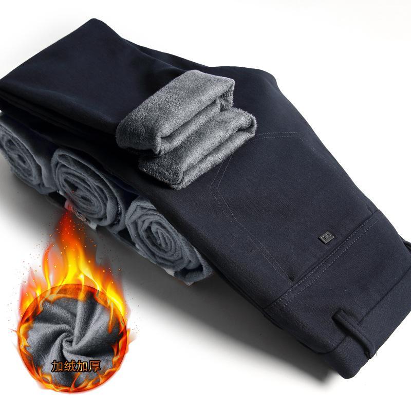 Pantalones largos moda invierno algodón térmico Masculino mantener caliente Slim hombres pantalones gruesos lápiz pantalones negocios Casual hombre