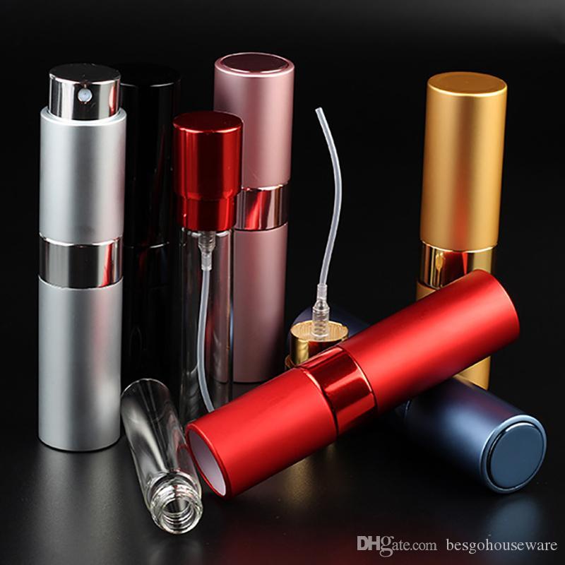 8ML telescopica portatile Rotary Spray Bottle Alumina profumo bottiglia vuota diffusore del profumo trucco Atommizer Spray Imbottigliamento tubo BH2180 CY
