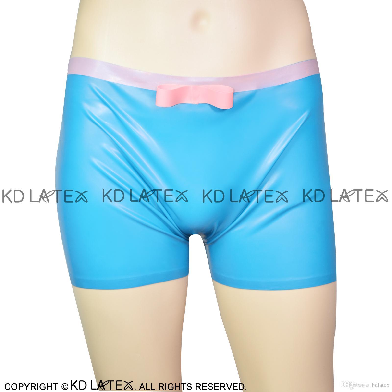 Lake Blue und Pink Sexy Latex Slip mit Bögen Gummihöschen Shorts Unterhose Unterwäsche 0127
