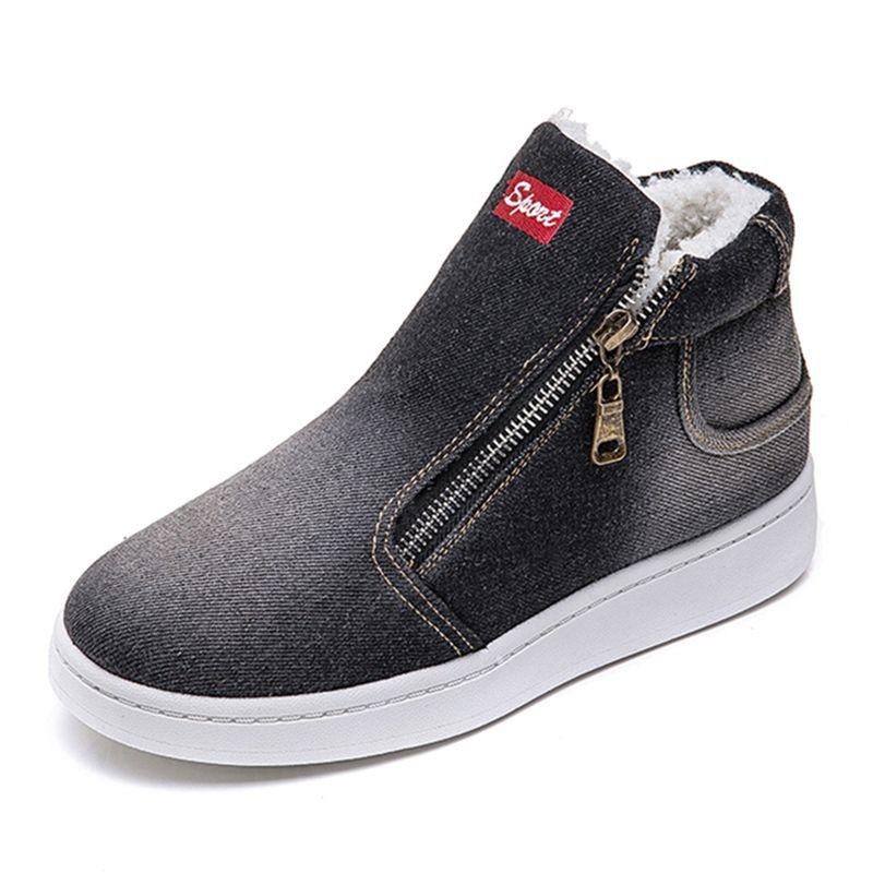 En Sıcak Kış Ayakkabı Kadın Denim Jeans Çizme Polar itin Kar Boots For Women Kış Daire Günlük Ayakkabılar zapatos de mujer