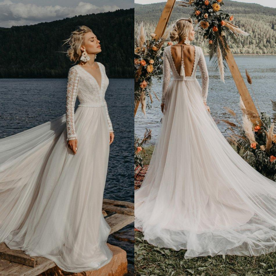 Discount Bohemian Long Sleeve Wedding Dresses A Line V Neck Lace Appliqued Beach Bridal Gowns Backless Sweep Train Boho Wedding Dress Empire Line Wedding Dresses Gown Wedding From Huifangzou 111 21 Dhgate Com