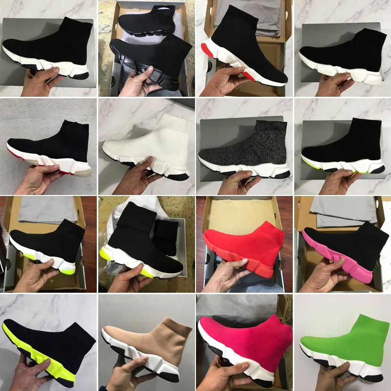 2020 جديد حذاء رياضة المدرب جورب أحذية أعلى جودة الأزياء الثلاثي الأسود اوريو الأحمر شقة الرجال النساء عارضة الأحذية الرياضية مع مربع حقيبة الغبار