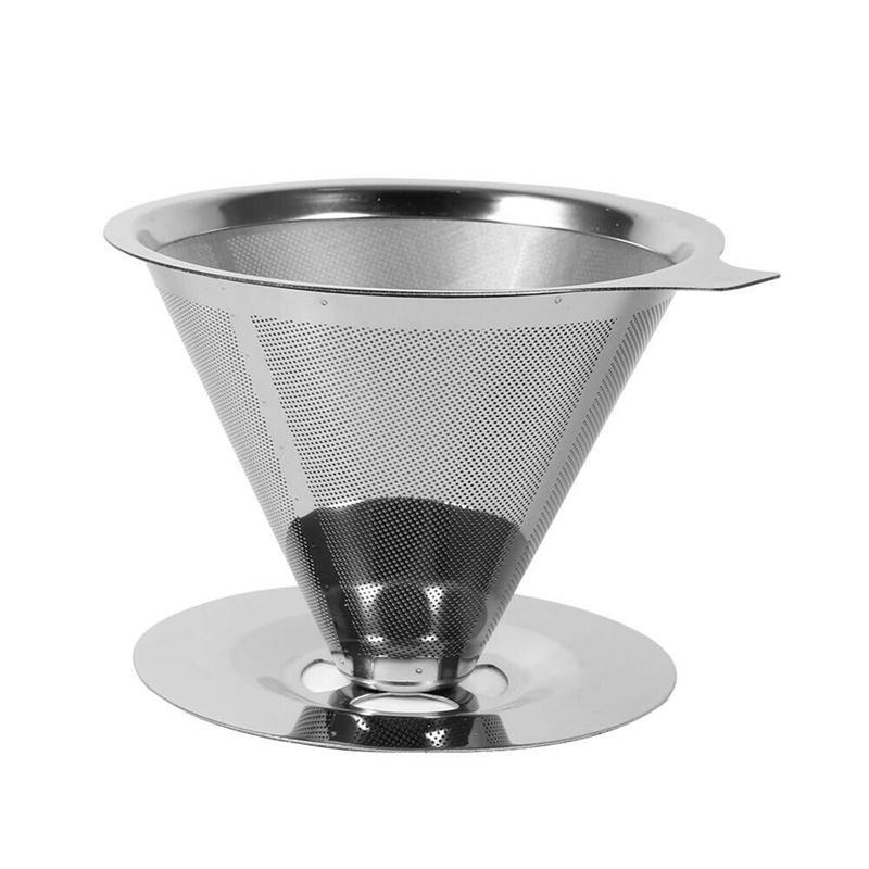 Filtre réutilisable café Holder en acier inoxydable Paniers Entonnoir Métal Mesh Drif Filtres à café goutte à goutte Goutteur V60 tasse de café de filtre