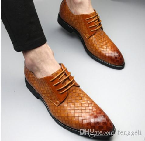 2019 Chaussures pour hommes au printemps et en automne avec nouveau style bout pointu talon bas @ W136