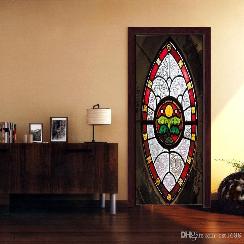 Nuevos 2pcs Puerta de estilo musulmán 3D DIY etiqueta engomada del arte mural autoadhesivo de PVC puerta de madera del vinilo de la habitación a prueba de agua extraíble Decoración