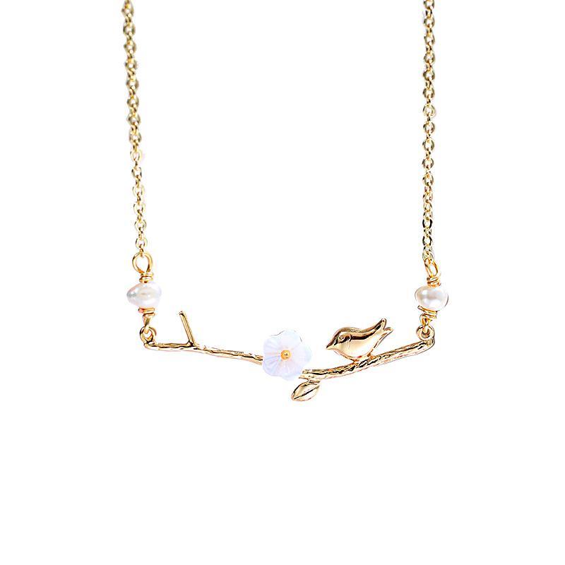 RNSXL060008 Oiseaux collier de perles Twitter et le parfum de perle baroque Fleurs collier pendentif pour les femmes