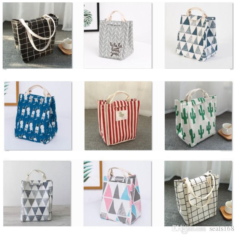 Wiederverwendbare Lunchpaket Isolierte Lunchpaket Leinwand Stoff Aluminiumfolie Striped Grid kaktus Mittagessen Tote Handtasche Für Erwachsene Schule Büro HH9-2350