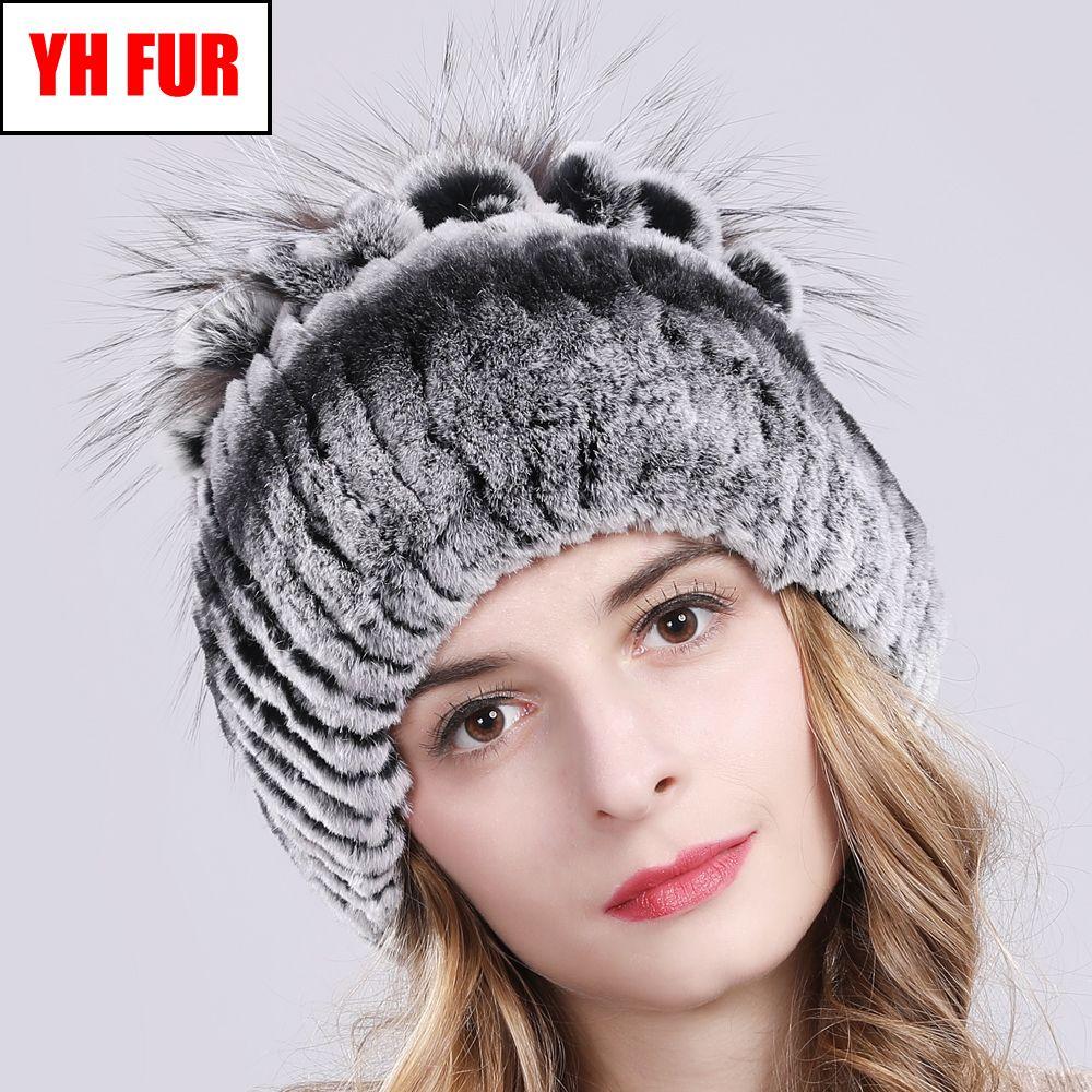 New Russia Women Real Rex Rabbit Fur Hats Knitted Striped Lady 100% Genuine Rex Rabbit Fur Beanies Hat Winter Warm Flowers Caps Y200102