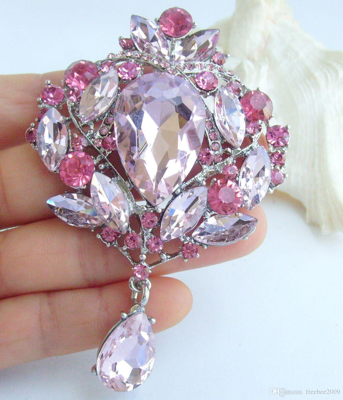 """Elegante 3,54 """"rosa Strass Kristall Blume Brosche Anhänger EE04082C5"""